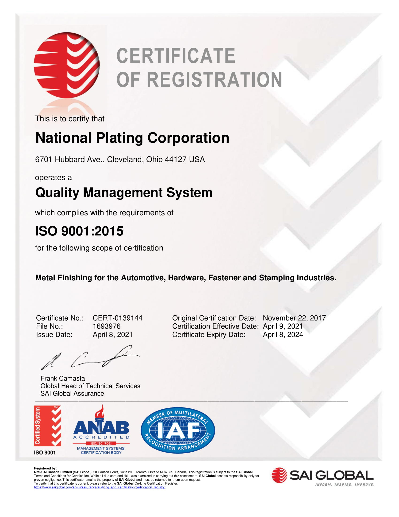 National Plating Corp